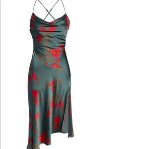 Bnwt - Gaia strappy bias cut satin midi dress